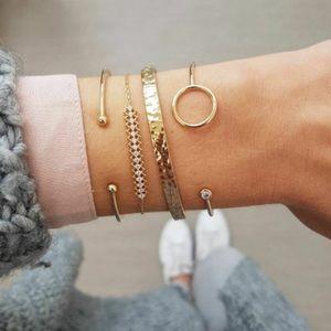"""Adelle"" Layered Gold Diamond Fashion Bracelets"